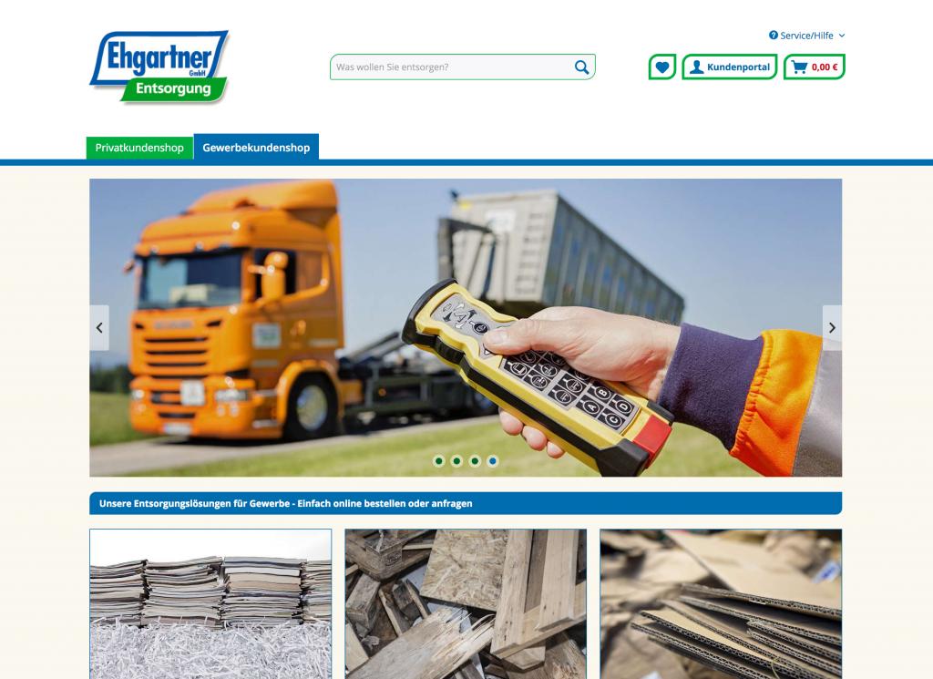 Gewerbekundenbereich mit anderen Abfällen und einem Kundenportal zur schnellen Auslösung von Aufträgen