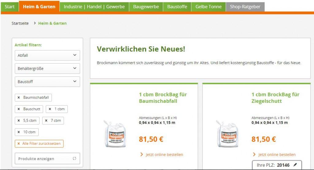 Filter im Artikellisting im Brockmann-Shop